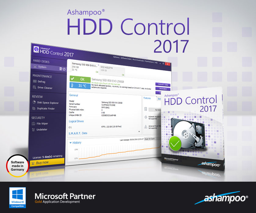 Ashampoo HDD Control Serial Key 2017 Full Free Download