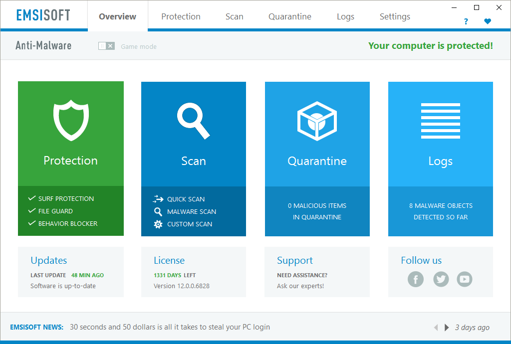 Emsisoft Anti-Malware 2018.3.1.8572 License Key + Crack Download