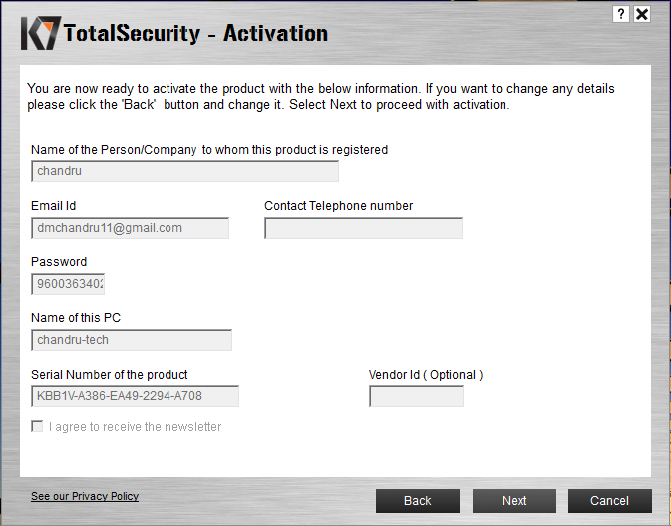 K7 Total Security 15.1.0318 2018 Activation Key [ Crack ] Generator